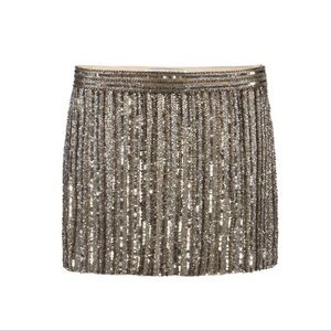 All Saints Voltaire Gold Beaded Mini Skirt